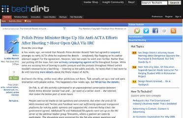 http://www.techdirt.com/articles/20120222/01532117836/polish-prime-minister-steps-up-his-anti-acta-efforts-after-hosting-7-hour-open-qa-via-irc.shtml