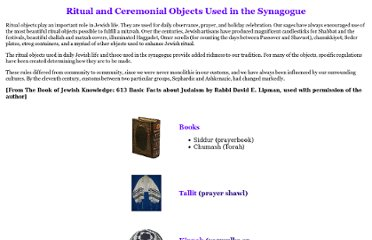 http://scheinerman.net/judaism/Synagogue/objects.html