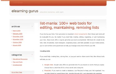 http://www.elearningyellowpages.com/blog/2009/02/list-mania-100-web-tools-for-editing-maintaining-remixing-lists