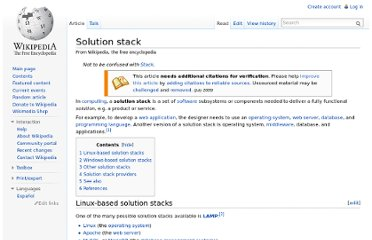 http://en.wikipedia.org/wiki/Solution_stack