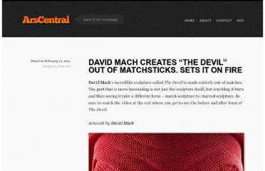 http://arscentral.com/david-mach-creates-devil-out-of-matchsticks-and-sets-it-on-fire/