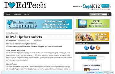 http://blog.simplek12.com/education/10-ipad-tips-for-teachers/