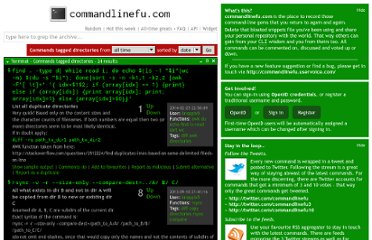 http://www.commandlinefu.com/commands/tagged/241/directories