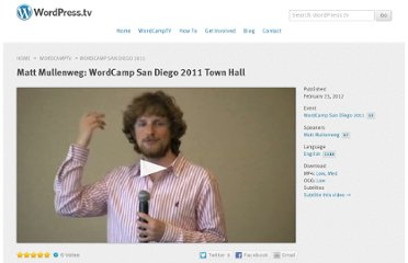 http://wordpress.tv/2012/02/23/matt-mullenweg-wordcamp-san-diego-2011-town-hall/