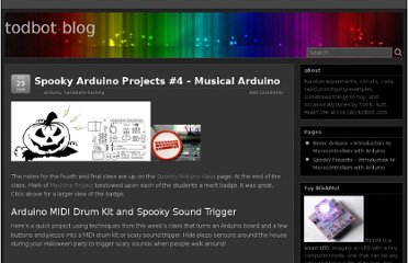 http://todbot.com/blog/2006/10/29/spooky-arduino-projects-4-and-musical-arduino/