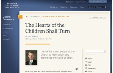http://www.lds.org/general-conference/2011/10/the-hearts-of-the-children-shall-turn?lang=eng