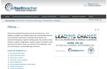 http://edtechteacher.org/index.php/teaching-technology/mobile-technology-apps/ipad-as