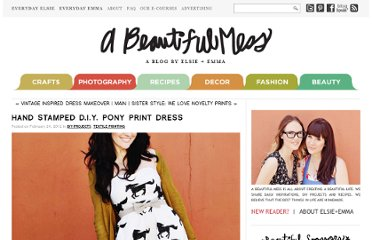 http://abeautifulmess.typepad.com/my_weblog/2012/02/hand-stamped-diy-pony-print-dress.html