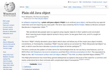 http://en.wikipedia.org/wiki/Plain_Old_Java_Object