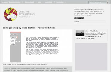 http://www.creativeapplications.net/processing/code-poems-by-ishac-bertran-poetry-with-code/