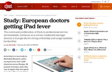 http://reviews.cnet.com/8301-31747_7-57379622-243/study-european-doctors-getting-ipad-fever/