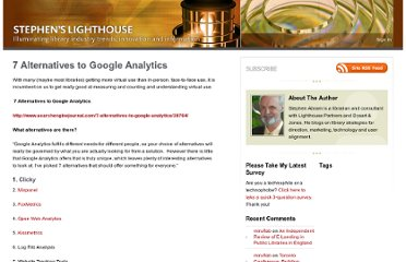 http://stephenslighthouse.com/2012/01/21/7-alternatives-to-google-analytics/