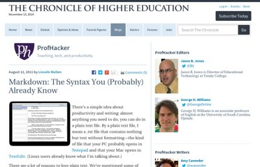 http://chronicle.com/blogs/profhacker/markdown-the-syntax-you-probably-already-know/35295
