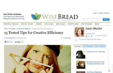 http://www.wisebread.com/15-tested-tips-for-creative-efficiency