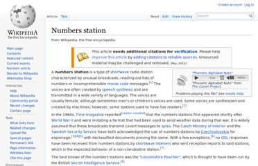 http://en.wikipedia.org/wiki/Numbers_station