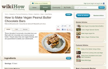 http://www.wikihow.com/Make-Vegan-Peanut-Butter-Chocolate-Bars