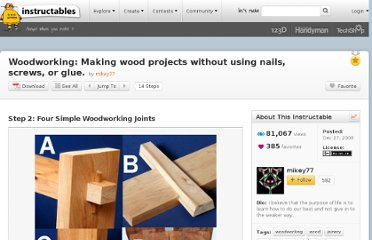 http://www.instructables.com/id/Woodworking-Making-wood-projects-without-using-na/step2/Four-Simple-Woodworking-Joints/
