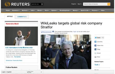 http://in.reuters.com/article/2012/02/27/wikileaks-stratfor-idINDEE81Q02020120227
