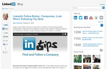 http://blog.linkedin.com/2012/02/27/linkedin-follow-button-for-companies/