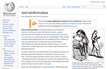 http://en.wikipedia.org/wiki/Anti-intellectualism