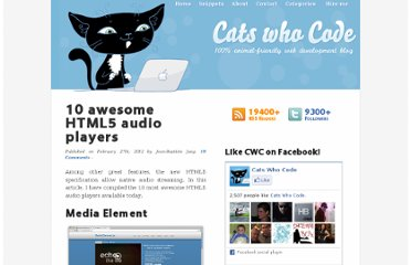 http://www.catswhocode.com/blog/10-awesome-html5-audio-players