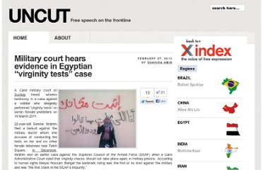 http://uncut.indexoncensorship.org/2012/02/egypt-virginity-test-shahira-amin/