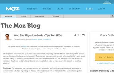 http://www.seomoz.org/blog/web-site-migration-guide-tips-for-seos