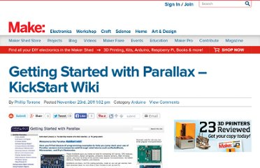 http://blog.makezine.com/2011/11/23/getting-started-with-parallax-kickstart-wiki/
