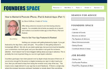 http://www.foundersspace.com/marketing-pr/how-to-successfully-launch-an-iphone-app-part-1/