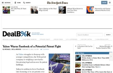 http://dealbook.nytimes.com/2012/02/27/yahoo-warns-facebook-of-a-potential-patent-fight/