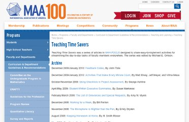 http://www.maa.org/features/TeachingTimeSavers.html