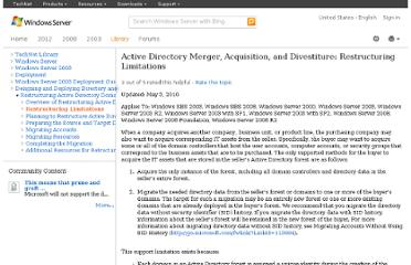 http://technet.microsoft.com/en-us/library/mergers_acquisitions_active_directory_prune_and_graft_restructuring_support_limitations(v=ws.10).aspx