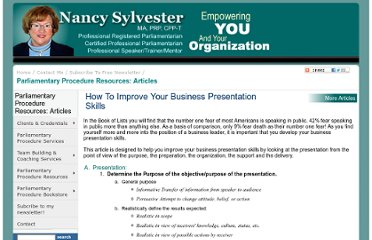 http://nancysylvester.com/docs/Resources/articles/business_presentation_skills.html
