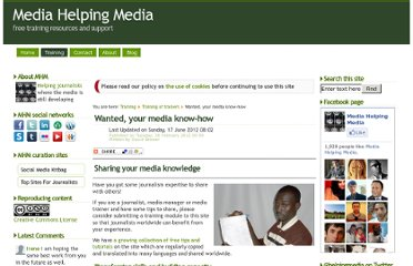 http://www.mediahelpingmedia.org/training-resources/tot/662-wanted-your-media-know-how