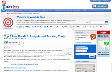 http://blog.ineedhits.com/tips-advice/top-5-free-backlink-analysis-and-tracking-tools-30508375.html
