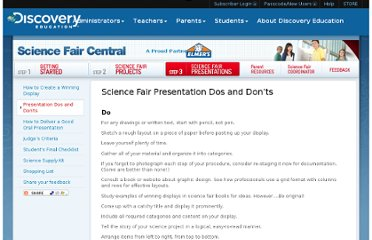 http://school.discoveryeducation.com/sciencefaircentral/Science-Fair-Presentations/Dos-and-Donts.html