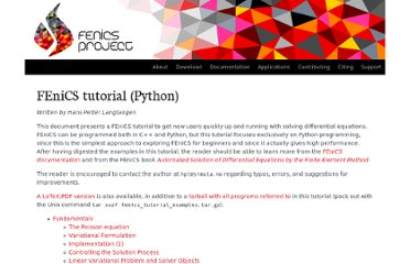 http://fenicsproject.org/documentation/tutorial/index.html