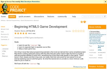 http://www.codeproject.com/Articles/335580/Beginning-HTML5-Game-Development