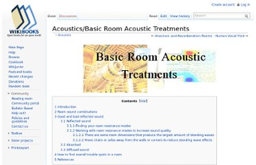 http://en.wikibooks.org/wiki/Acoustics/Basic_Room_Acoustic_Treatments