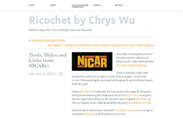 http://www.chryswu.com/blog/2012/02/22/tools-slides-and-links-from-nicar12/#tutorials