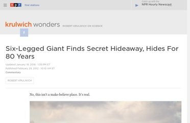 http://www.npr.org/blogs/krulwich/2012/02/24/147367644/six-legged-giant-finds-secret-hideaway-hides-for-80-years