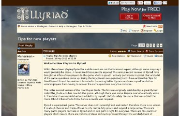 http://forum.illyriad.co.uk/tips-for-new-players_topic1894.html
