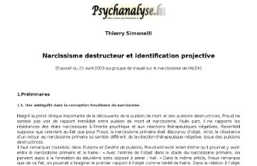http://www.psychanalyse.lu/articles/SimonelliNarcissismeProjection.htm