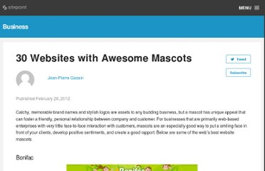http://designfestival.com/30-websites-with-awesome-mascots/
