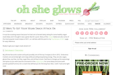 http://ohsheglows.com/2012/02/22/22-ways-to-get-your-vegan-snack-attack-on/