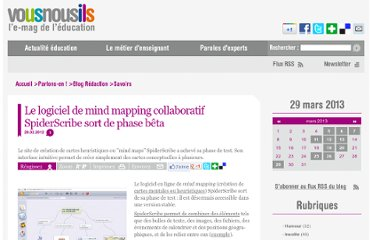 http://www.vousnousils.fr/2012/02/29/le-logiciel-de-mind-mapping-collaboratif-spiderscribe-sort-de-phase-beta-522681