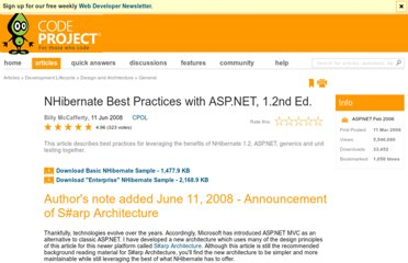 http://www.codeproject.com/Articles/13390/NHibernate-Best-Practices-with-ASP-NET-1-2nd-Ed#SUMMARY