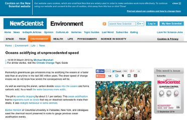 http://www.newscientist.com/article/dn21534-oceans-acidifying-at-unprecedented-speed.html