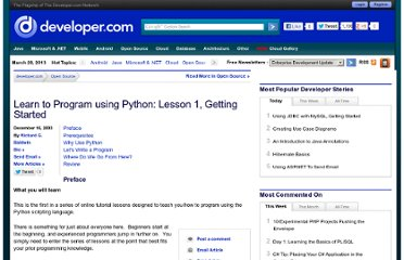 http://www.developer.com/open/article.php/625901/Learn-to-Program-using-Python-Lesson-1-Getting-Started.htm