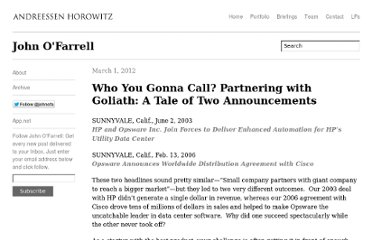 http://john.a16z.com/2012/03/01/who-you-gonna-call-partnering-with-goliath-a-tale-of-two-announcements/